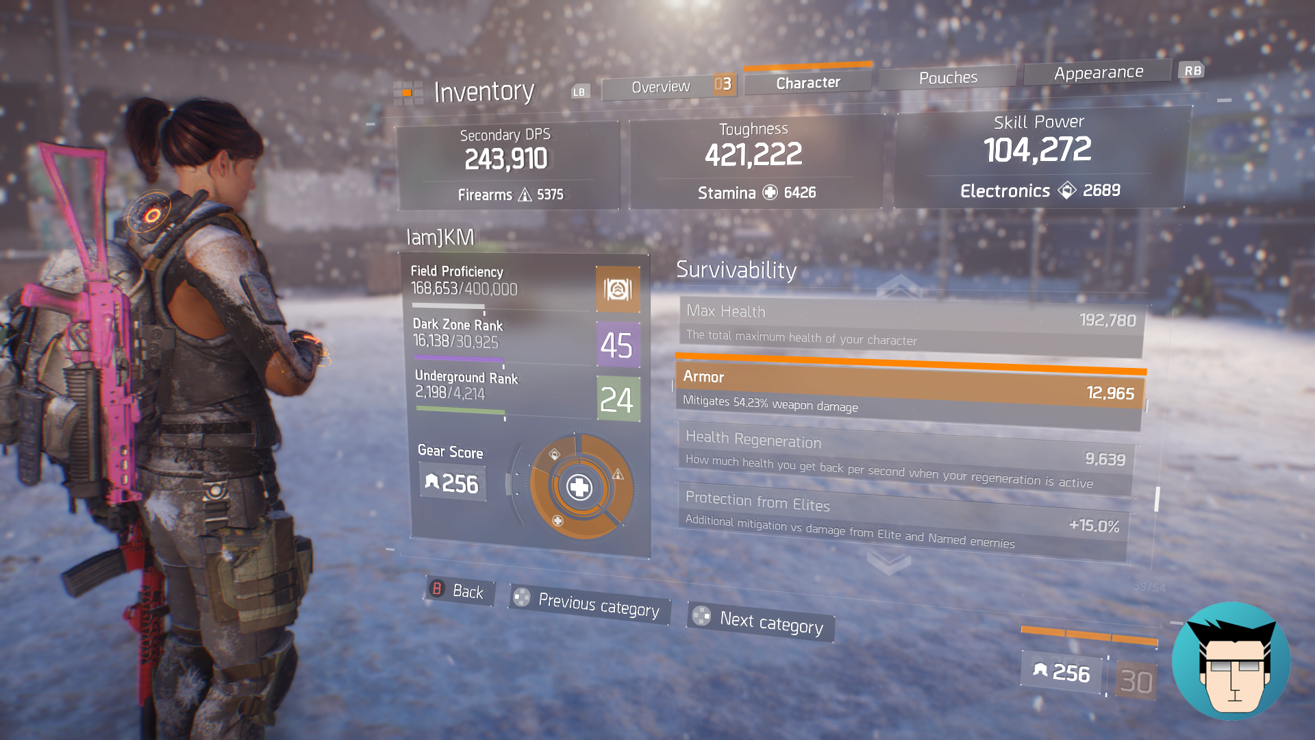 Character Sheet   Armor Mitigation at 54.23%, Buffed with Pulse: Tactical Scanner