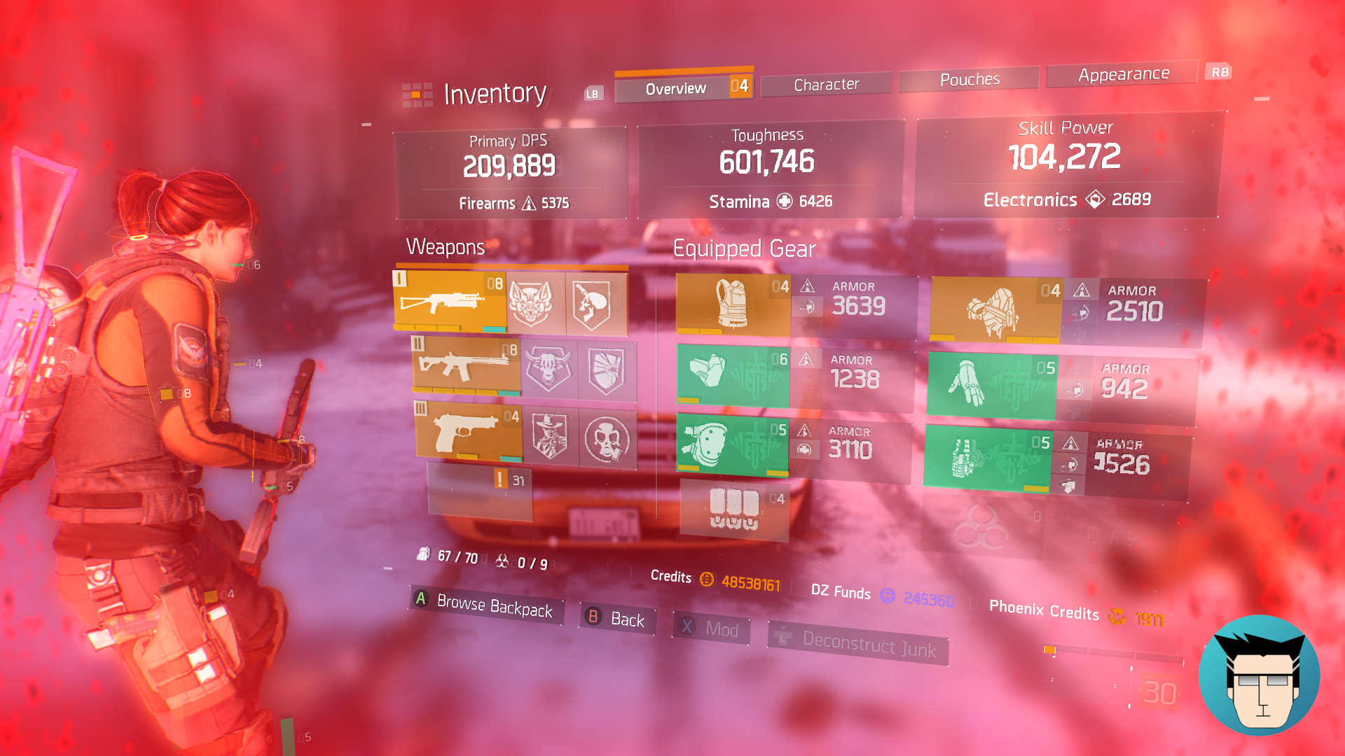 Overview   600k Toughness, buffed with critical save